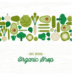 organic shop pattern green vegetable icons vector image