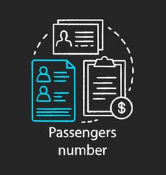 Passenger number chalk icon reservation system vector