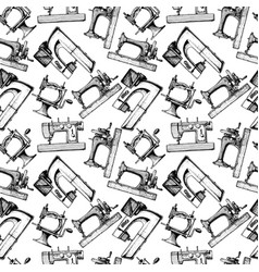Pattern with different tailors objects vector