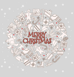 pattern with hand drawn fir trees gift vector image