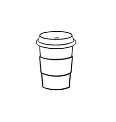 Plastic cup of chocolate coffee hand drawn icon vector