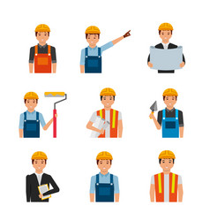 portraits construction workers with uniform and vector image