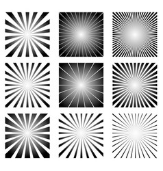 Radial elements set starburst or sunburst vector