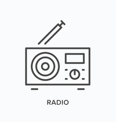 Radio with antenna flat line icon outline vector