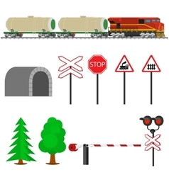 Railroad traffic way and train with tank cars vector