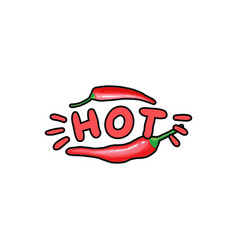 Red hot chili pepper hand drawn color vector