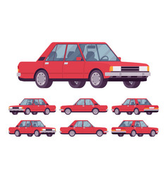 red sedan set vector image