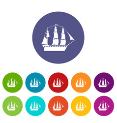 sailboat icons set color vector image