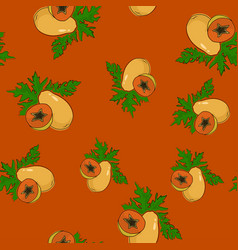 Seamless pattern papaya on orange background vector