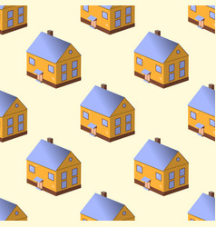seamless pattern with colorful houses on yellow vector image