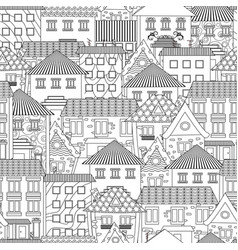 seamless texture with cozy cityscape for coloring vector image