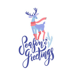 season s greetings lettering design vector image