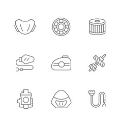 Set line icons motorcycle parts vector
