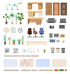 Set of business elements and furniture to create vector