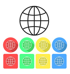 set of international globe line art icon for apps vector image