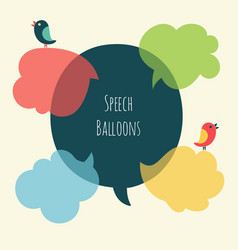 set of speech bubble with bird vector image