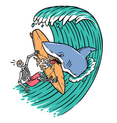 sharks attack surfers vector image