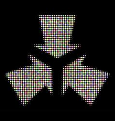 Shrink arrows halftone mosaic of circles vector