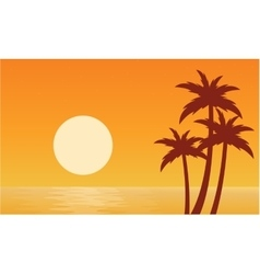 Silhouette of palm with sun seaside vector