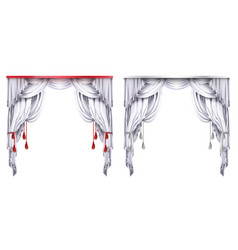 Silk velvet drapes with red or white vector