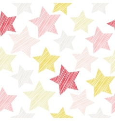 Sketch seamless pattern with stars Red pink vector image