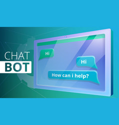 smart chatbot concept banner cartoon style vector image