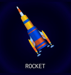 space rocket icon cartoon style vector image