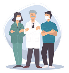 team professional doctors specialists in masks vector image