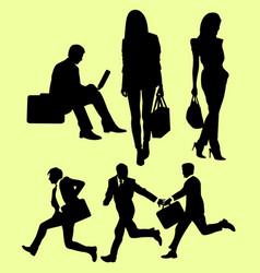 team work activity silhouette vector image