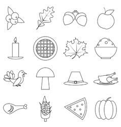 Thanksgiving Day Autumn icons set outline style vector image