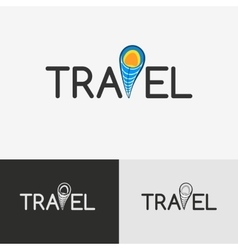 Travel logo with the geo tag vector