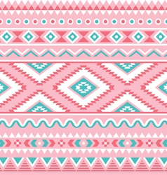 Tribal seamless pattern Aztec pink and green vector image