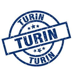 Turin blue round grunge stamp vector