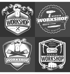 Vintage Repair Workshop Logo Set vector image
