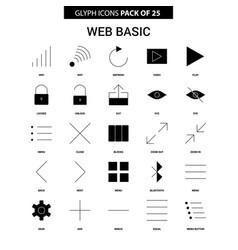 Web basic glyph icon set vector