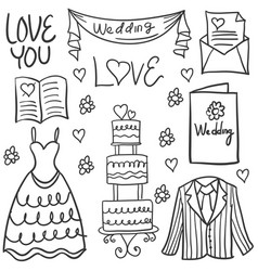 Wedding element style hand draw in doodles vector