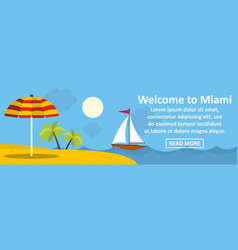 Welcome to miami banner horizontal concept vector