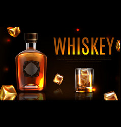 Whiskey bottle and glass promo ad banner poster vector