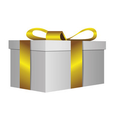 White gift short boxes with gold ribbon icon vector
