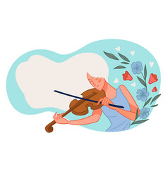 Woman playing violin violinist with instrument vector