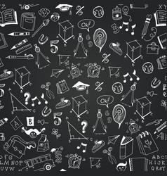 chalkboard monochrome school icon pattern vector image