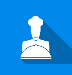 chef flat icon with long shadow vector image vector image