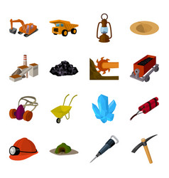 Excavator jackhammer helmet and other items for vector