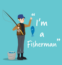 fisherman character with fish on sky blue vector image vector image