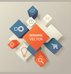 infographic cubes with web icons vector image vector image