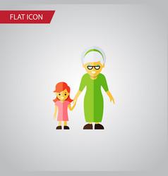 Isolated grandma flat icon grandchild vector