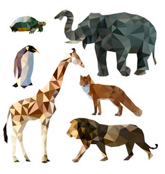 set of different animals polygonal icons vector image vector image