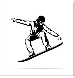 silhouette of a jumping snowboarder vector image vector image
