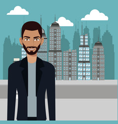 Man stylish casual urban background vector