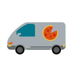 pizza car flat vector image vector image